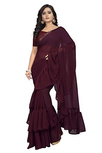 - Jaanvi fashion Women's Ruffle Georgette Saree (Ruffle-Burgandy)