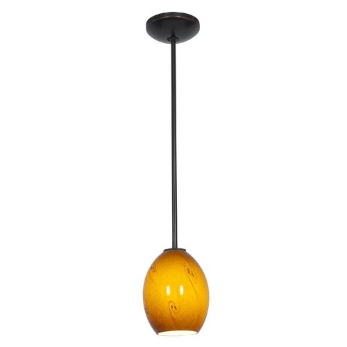 Brandy FireBird Glass Pendant - 1-Light Pendant - Rods - Fluorescent - Oil Rubbed Bronze Finish - Amber Sky Glass Shade