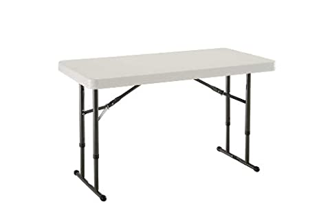 Lifetime 80161 4-Foot Commercial Adjustable Height Folding Table, Almond Tabletop with Bronze Frame