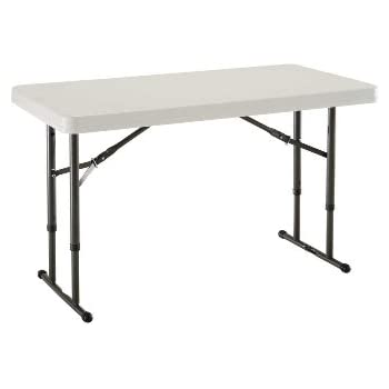 Charming Lifetime 80161 4 Foot Commercial Adjustable Height Folding Table, Almond  Tabletop With Bronze Frame