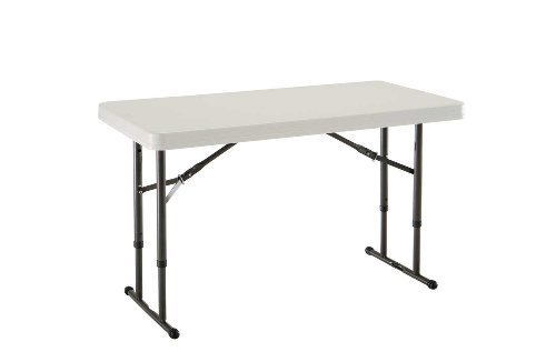 Counter Table Frame (Lifetime 80161 4' Commercial Adjustable Height Folding Table Tabletop with Bronze Frame, Almond)