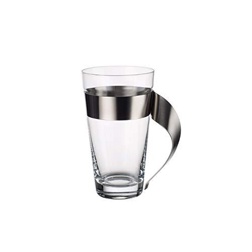 Villeroy & Boch NewWave Vaso, Bicchiere Latte Macchiato, Cristal/Acero inoxidable, Trasparente, 500 ml