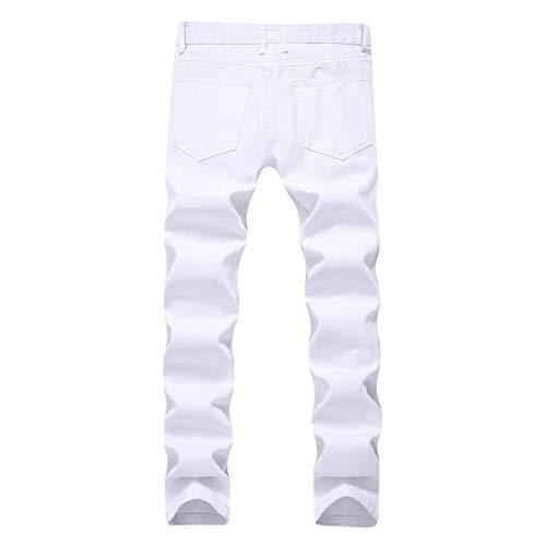 Unita Bianca Tinta Vita Jeans A Elasticizzati Semplice Uomo Stile Bassa Skinny Per Casuali Dritti Strappati Di Pantaloni Lanceyy Hqpan1TT
