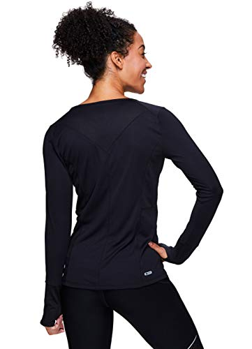 RBX Active Women's Long Sleeve V-Neck T-Shirt with Mesh Inserts F18 Black L