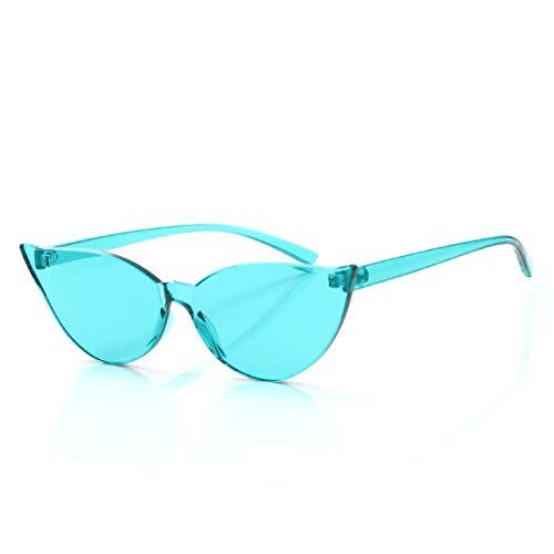 OLINOWL Cat Eye Rimless Sunglasses Oversized One Piece Colored Transparent Eyewear Retro Eyeglasses for Women ()