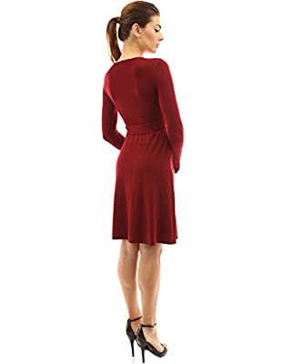 PattyBoutik Women V Neck Faux Wrap Long Sleeve Knit Dress