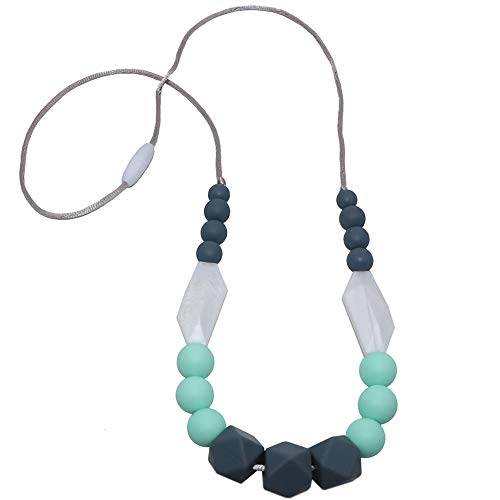 Baby Teething Necklace for Mom to Wear, Silicone Nursing Chew Beads Jewelry for Boys Girls, 100% BPA Free Baby Teether Toys