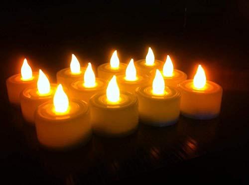 DesiDiya® Acrylic LED Tea Light Candles Warm White Diwali Christmas Home Decoration Candle Light Dinner Real Look Candle…