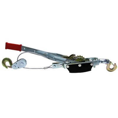 4 Ton Hand Ratchet Hoist Come a Long Pulley Cable System 2 Hook 2 Gear Power Puller Winch (Triple Bolted Metal Shield Box)