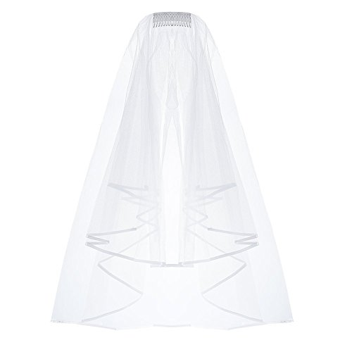 Elegantday Bridal Wedding Veil White Double Ribbon Edge Center Cascade with Comb