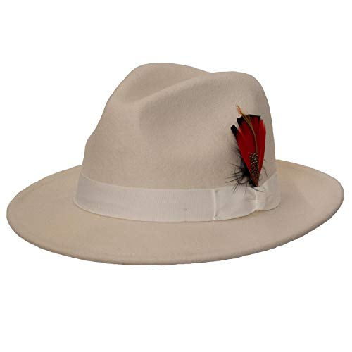 (9th Street Reverb Classic Felt Fedora 100% Wool (Medium (fits 7 to 7 1/8), White))
