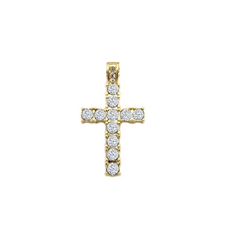 MENS ICED OUT EGYPTIAN GOLD MICRO CROSS HIP HOP PENDANT CUBAN CHAIN NECKLACE (Pendant only) (Pendant Cross Hop Out Hip)