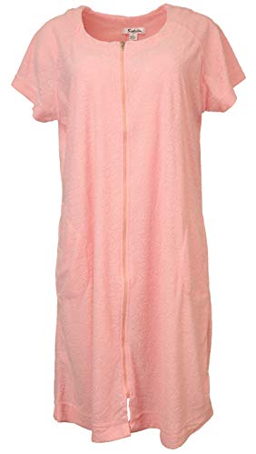 (Sindrella Women's 65% Cotton Terry Zippered Cover-up Robe with Pockets (X-Large, Pink))