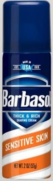 Barbasol Sensitive Skin Thick and Rich Shaving Cream for Men, Travel Size, TSA Approved, 2 oz. (Pack of 24)