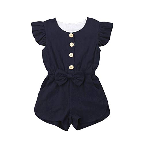 YOUNGER TREE 6M-5T Toddler Baby Girls Fly Sleeve Bodysuit Summer Button Jumpsuit with Pocket Navy Blue