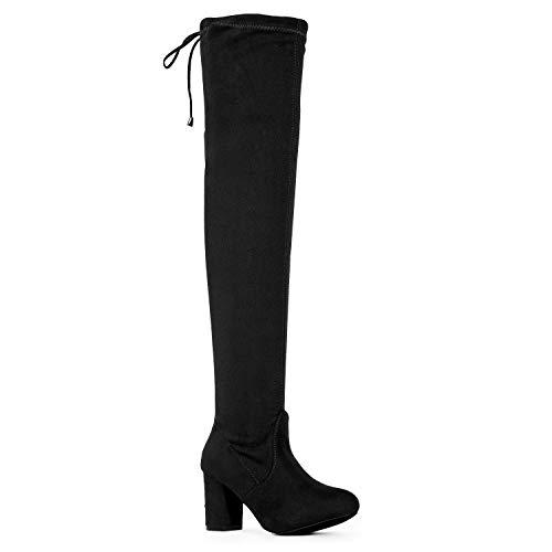 (RF ROOM OF FASHION Women's Medium Calf Over The Knee Chunky Heel Stretch Boots Black SU (11))