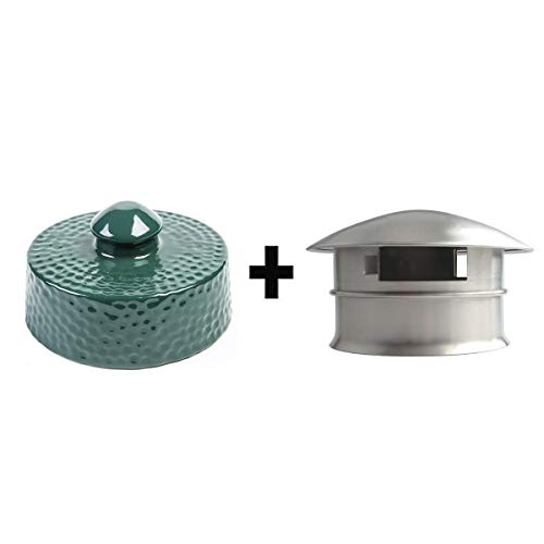 Set Top Vent - Xingo Grill Chimney Cap Ceramic and Stainless Steel Damper Top for Big Green Egg Accessories,Big Green Egg Top Vent Cap Parts Replacement for Medium,Large and XLarge Size Big Green Egg,Set of 2