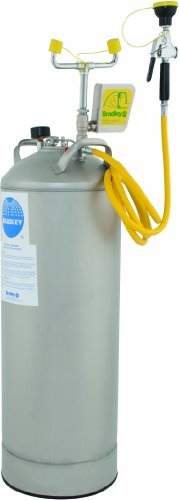 Bradley S19-690 10 Gallon Safety Portable Pressurized Eye/Face Wash Unit with Drench Hose, 0.4 GPM Water Flow, 12-1/4