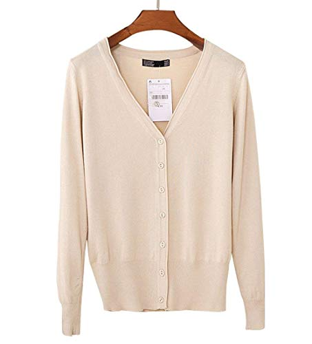 Mode Maglie Size L Single Marca Lana Lunga Outwear Manica V Top Moda color Alta Maglione neck Confortevole Breasted Apricot Monocromo Donna Slim Autunno Di Vita Fit w0xq84SX