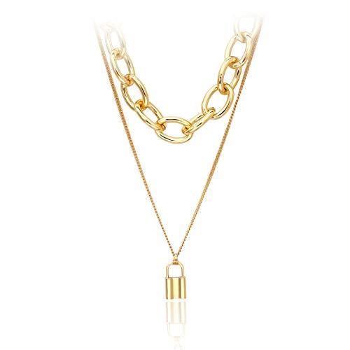 UdobuyPunk Gothic Long Black Velvet PU Leather Chain Necklace Stretch Tattoo Choker Elastic Tassel Necklaces (Gold Choker)