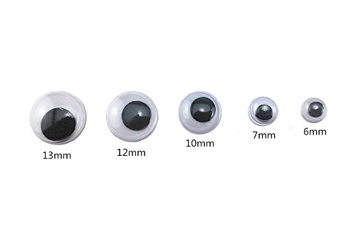 500 Eyes Mini Wiggle Eyes Black Small Plastic Round Moving Googly Eyes for Children School Classroom Arts /& Crafts Models