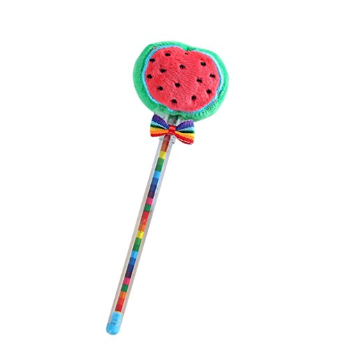 (Inverlee Back to School Supplies, Cute Vegetable Fruit Plush Ball Creative Gel Pen Smooth Writing (Waterlemon))