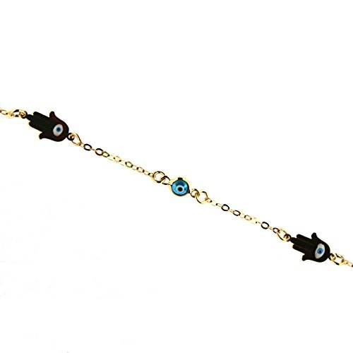 18k Yellow Gold Enamel Fatima Hand hamsa and blue eyes bracelet 7 inch by Amalia