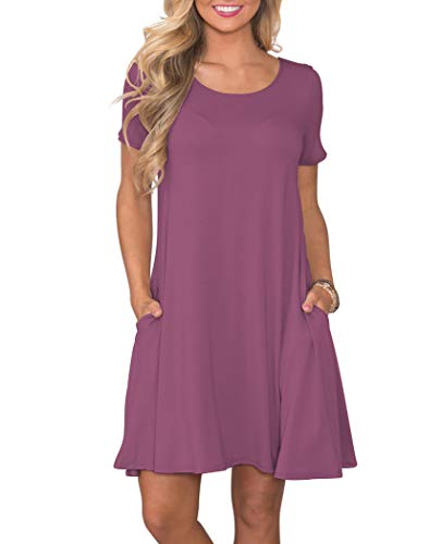 Floral Mauve Stripe - KORSIS Women's Summer Casual T Shirt Dresses Short Sleeve Swing Dress with Pockets Mauve M