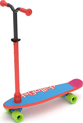 Chillafish Skatieskootie, Customizable Training Skateboard with Detachable Stability Handle for A Lean to Steer Scooter, Multiple Deck & Fin Color Options, Red Mix