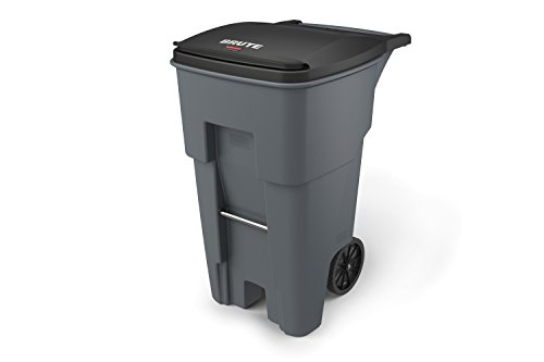 Rubbermaid Commercial Products BRUTE Rollout Waste/Utility Container, 65-gallon, Gray (Medium Square Bar)