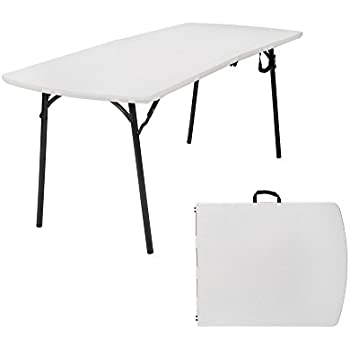 Weight Capacity 6 Ft X 30 In Fold In Half Banquet Table White Speckle With Hammer Tone Frame
