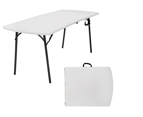 Cosco Diamond Series 300 lb. Weight Capacity, 6 ft. x 30 in. Fold-in-Half Banquet Table, White Speckle with Hammer Tone Frame (1200 Series Folding Table)