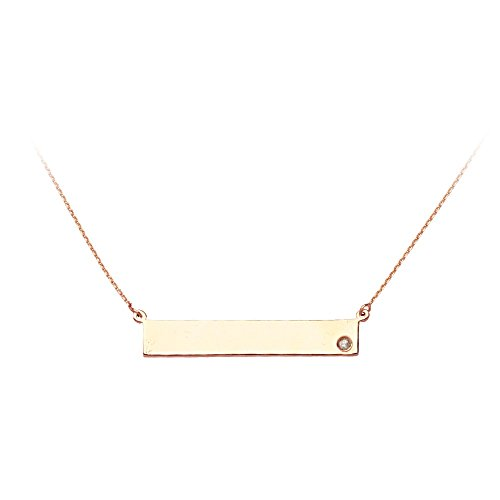 14k Gold Diamond Nameplate Necklace (14k Rose Gold Side-ways Bar Name Plate Adjustable Necklace 0.02 Dwt Diamond - 18 Inch)