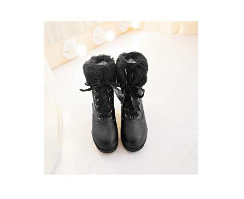 In Invernali Neve Caldi Pelle Con Corto Studenti Xe Nero 34 Antiscivolo A scarpe 43 Stivali Tubo Lacci Da Opaca Per Scamosciata Donna aqwCBx0