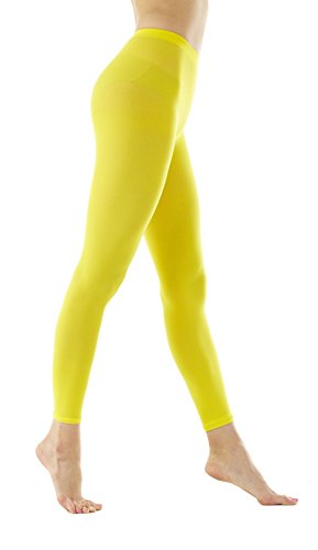 - Women's 80Denier Semi Opaque Solid Color Footless Pantyhose Tights 2pair or 6pair (M/L, Yellow)
