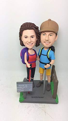 Hiking Wedding Cake Topper Personalized Wedding Cake Topper Custom Bobble Head Clay Figurine Hiking Cake Topper Hiking Gifts Hiking Topper (2 Custom Bobble Head)