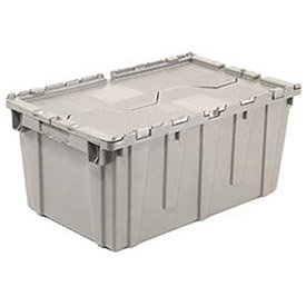 Distribution Container With Hinged Lid, 27-3/16x16-5/8x12-1/2, Gray