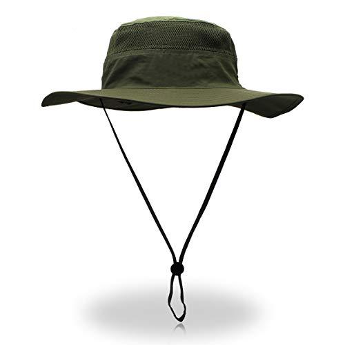 Duakrs Unisex Wide Brim Sun Hat,Outdoor UPF 50+ Waterproof Boonie Hat Summer UV Protection Sun Caps (Army Green)