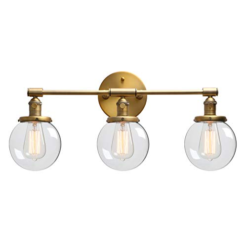 Three Big Shade Light (Phansthy Three Light Indoor Wall Fixture Bathroom Vanity Lighting with 5.6 Inches Globe Clear Glass Lamp Shade, Antique)