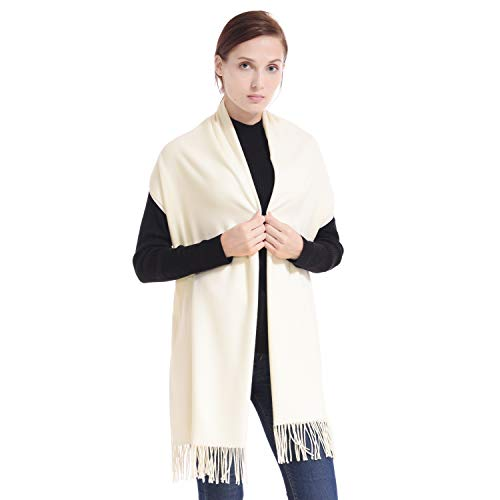 LERDU Ladies Gift Idea Cashmere Scarf Fashion Warm Wool Wrap Shawl Winter Stole for Women Beige