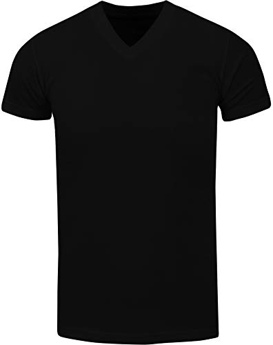 VNS02_ Active Mens Premium Cotton Heavy Weight V Neck Basic T Shirt Black by Shaka Wear (Image #1)