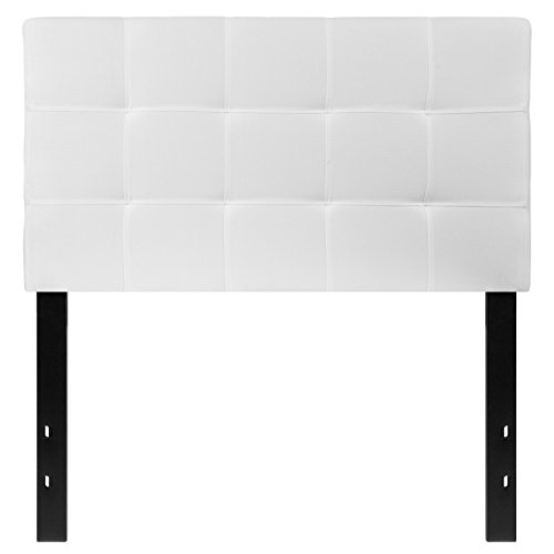 Flash Furniture Bedford Tufted Upholstered Twin Size Headboard in White Fabric (Panel White Twin Bed)