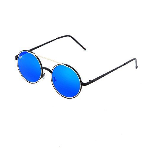 GIOTTO hombre Azul redondo TWIG espejo mujer de sol Gafas Negro qnHZxf6txw