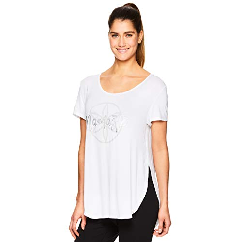 Gaiam Women's Open Back Yoga T Shirt - Relaxed Fit Short Sleeve Workout & Training Top - Namaste Bright White, X-Small