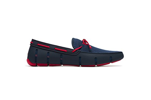 SWIMS Men's Braided Lace Loafer For Pool - Navy/Red, 12 by SWIMS