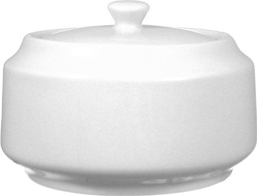 ITI-DO-61 Porcelain Dover Dover Sugar Bowl with Lid, 14-Ounce 12-Piece, White