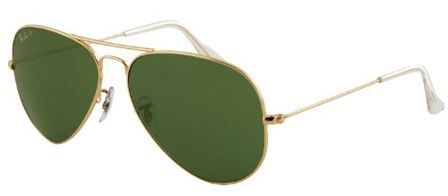 RAY BAN RB 3025 001/58 RAYBAN NATURAL GREEN POLARIZED LENS & ARISTA FRAME SIZE 55-14-135 - Sale Ray Aviator Ban