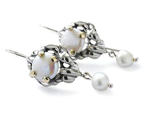 Sculptural Pearl two tone earrings