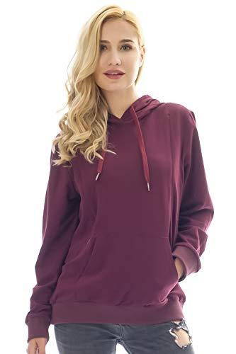 Bearsland Women's Maternity Winter Sporty Hoodie Breastfeeding Sweater Nursing Top,purplered,M