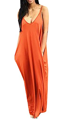 Confortables Femmes Poches Longues V-cou Écharpe Orange1 Solide Robe De Soirée